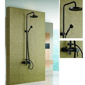 Oil-rubbed Bronze Wall Mount Waterfall Rain and Handheld Shower Faucet--Faucetsuperseal.com