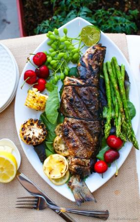 Cajon Seasoned Grilled Whole Branzino with Lemons Recipe - ChefDeHome.com