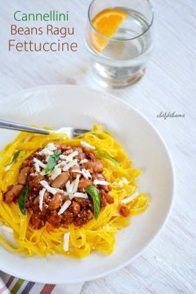 Cannellini Beans Ragu Fettuccine Pasta Recipe  - ChefDeHome.com