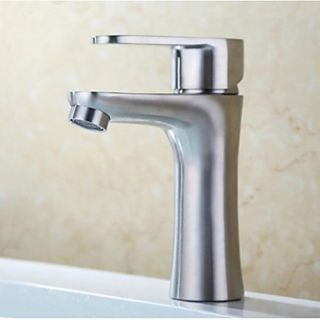 Lead-Free Contemporary Bathroom Lavatory Vanity Brushed Stainless Steel Bathroom Sink Faucets--Faucetsdeal.com