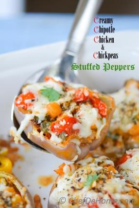 Chipotle Chicken and Chickpea Stuffed Heirloom Peppers Recipe - ChefDeHome.com