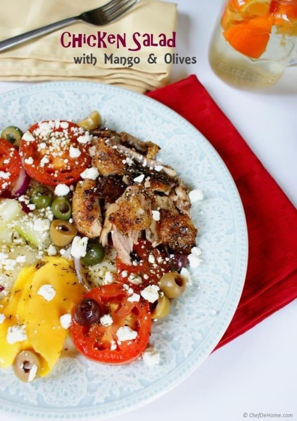 Greek Style Chicken Salad with Thyme Vinaigrette Recipe - ChefDeHome.com