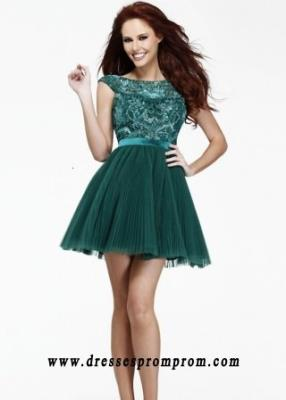 Sherri Hill 21167 Emerald Beaded Tulle Pleated Cap Sleeves Open Back Party Dress