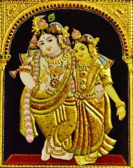 Tanjore painting of Shri Radha Krishna