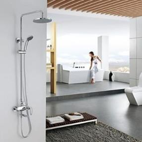 Contemporary Chrome Finish Tub Shower Faucet with 8 inch Shower Head and Hand Shower--Faucetsmall.com