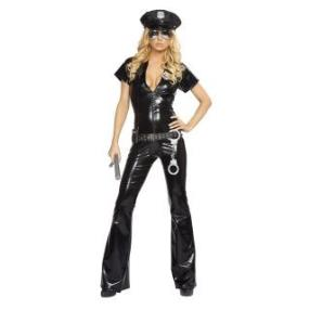 Hot Sexy Short Sleeves Deep V-neck Policewomen Christmas Costume