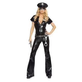 Hot Sexy Short Sleeves Deep V-neck Policewomen Christmas Costume