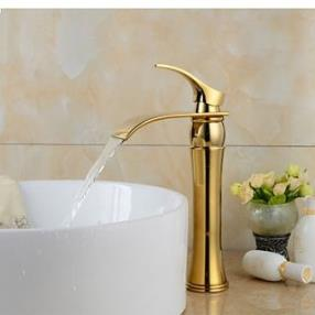 Contemporary Widespread Waterfall Gold Heightening Bathroom Sink Faucet--Faucetsdeal.com