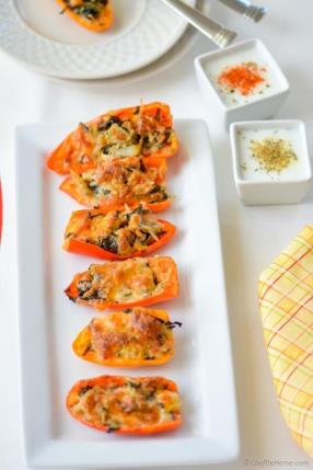 Leftover Stuffing Stuffed Sweet Peppers with Two Kinds Buttermilk Dips Recipe - ChefDeHome.com