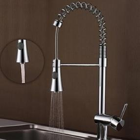 Contemporary Chrome Finish Brass One Hole Single Handle Spring Kitchen Faucet--Faucetsmall.com