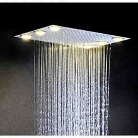 Stainless Steel 304 Alternating Current Bathroom Rainfall Shower Head With 6 PCS LED Lamps--Faucetsmall.com