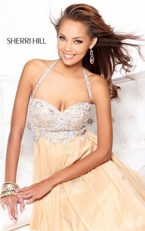 Sherri Hill 3836 Long Prom Dresses Nude Beaded Chiffon Haltered Straps