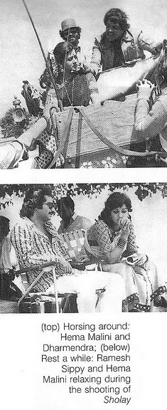 Sholay behind the scene photo, Basanti relaxing between shoot with Ramesh Sippy