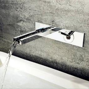 Contemporary Chromed Copper Silver Wall Mounted Waterfall Bathroom Sink Faucet--Faucetsdeal.com