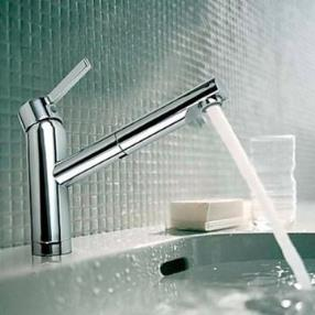 Contemporary Pullout Spray Chrome Finish Brass One Hole Single Handle Sink Faucet--Faucetsmall.com