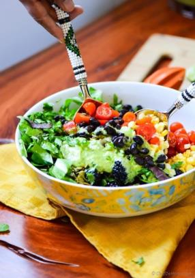 Mexican Black Bean and Berry Salad with Avocado Lime Dressing Recipe #saladforlunch - ChefDeHome.com