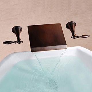 Oil-rubbed Bronze Antique Waterfall Brass Wall Mounted Bathroom Sink Faucets--Faucetsdeal.com