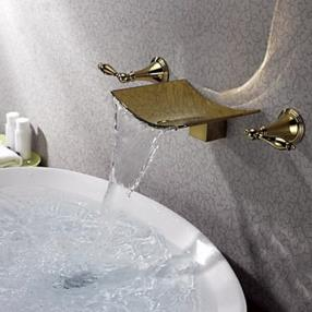 Two Handles Waterfall Brass Ti-PVD Wall Mounted Bathroom Sink Faucet--Faucetsdeal.com