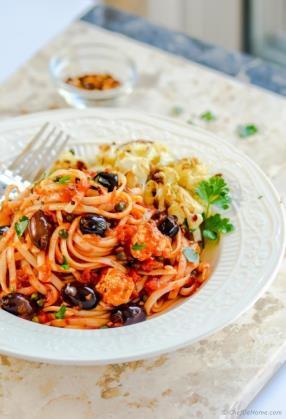 Roasted Cauliflower Pasta Puttanesca Recipe - ChefDeHome.com