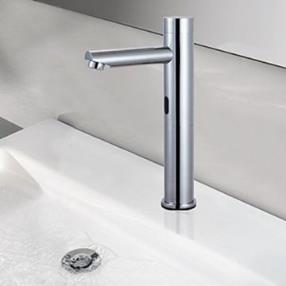 Contemporary Chrome Finish Brass Sensor Bathroom Sink Faucet--Faucetsmall.com
