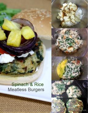 Spinach and Rice Meatless Burgers