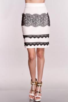 White Black Eyelash Lace Pencil Skirt - looks very pretty