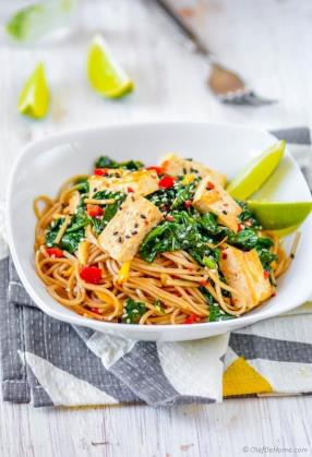 Buckwheat Soba Noodles with Coconut-Lime Tofu  Recipe - ChefDeHome.com