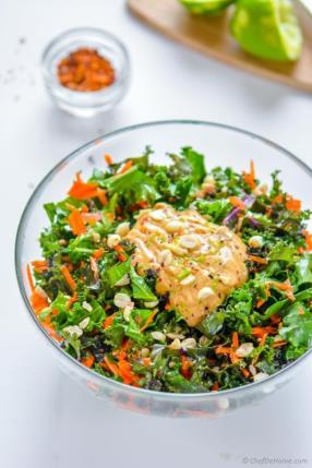Kale and Carrots Salad with Chili Lime Peanut Dressing Recipe - ChefDeHome.com