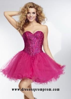 Dazzling Cerise Beaded Top Strapless Corset Back Cocktail Dress