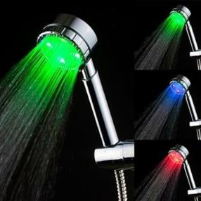 Chrome Finish Temperature Sensor Color Changing LED Hand Shower--Faucetsmall.com