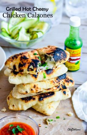 Grilled Hot Cheesy Chicken Calzone Recipe - ChefDeHome.com