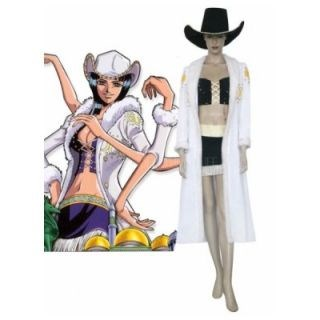 One Piece White Black Nick Robin Uniform Cloth Cosplay Costume