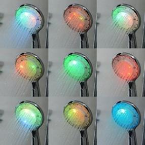 Chrome Finish Multi-color Temperature Controlled LED Hand Shower--Faucetsmall.com