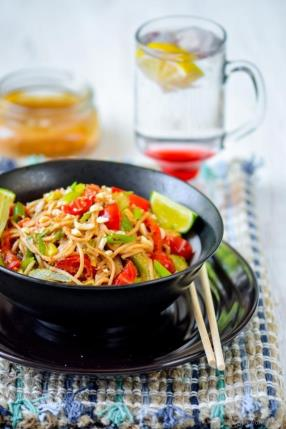 Noodles with Chili-Lime Peanut Sauce Recipe - ChefDeHome.com