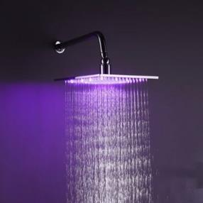 10 Inch Square Chrome 3 Colors LED Temperature Sensitive Rainfall Shower Head--Faucetsmall.com
