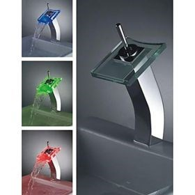 Color Changing LED Waterfall Centerset Single Handle Bathroom Sink Faucet (Tall)--Faucetsuperseal.com