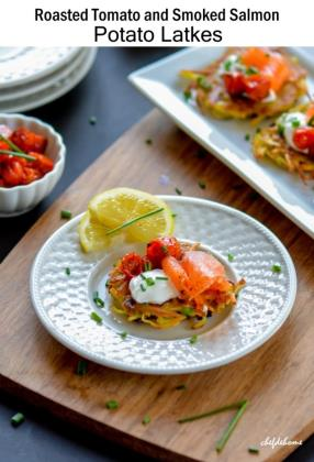Roasted Tomato and Smoked Salmon Potato Latkes for Christmas Breakfast!