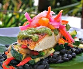 This Lazy Dog Cafe Chimichurri Mahi Mahi dish is delicious, healthy dairy free and low in calories