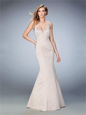 Beautiful Mermaid with Plunging Neckline Beaded Straps Satin Prom Dress PD12261