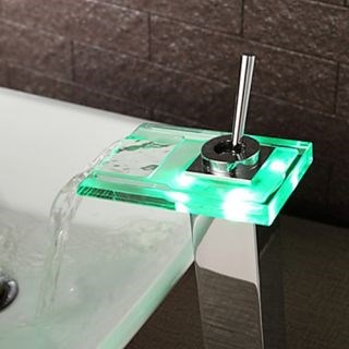 Modern Color Changing LED Waterfall Bathroom Sink Faucet--Faucetsdeal.com