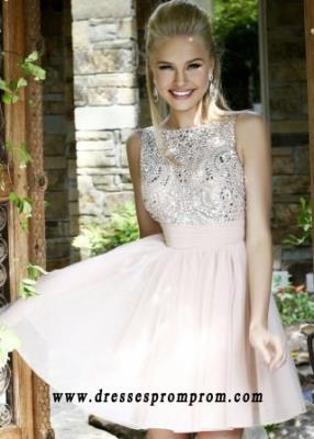 Elegant High Neck Nude Open Back A Line Tulle Short Perfect Prom Dress