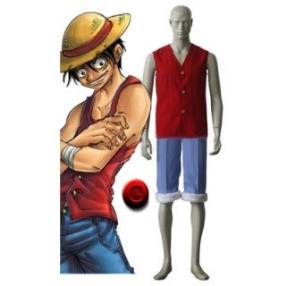 One Piece Red and Blue Luffy Cosplay Costume