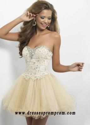 Corset Back Champagne Jewel Beaded Mini Tulle Party Dress