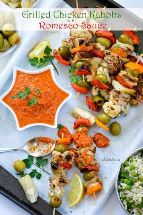 Grilled Chicken Kabobs with Romesco Sauce - Mother's Day Special Recipe -ChefDeHome.com