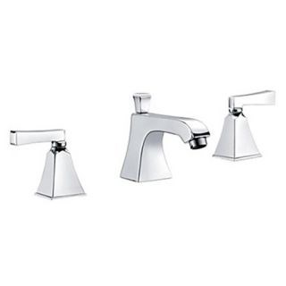 Modern Widespread Bathroom Three Holes Sink Faucet in Chrome with Double Handles--Faucetsdeal.com