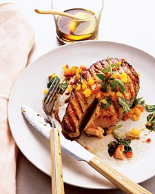 Grilled Salmon with Spicy Honey-Basil Sauce.