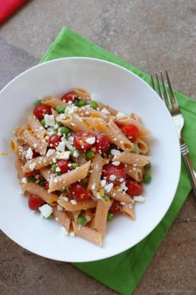 Summer Pasta Salad with Tomato, Feta and Orange Dressing Recipe - ChefDeHome.com