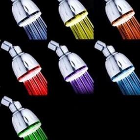 Chrome Finish Color Changing LED Showerhead--Faucetsmall.com
