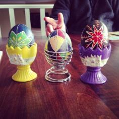 Hilarymakes.com writes - The original Ukrainian eggs made by Hilary and mom. Bunny ears courtesy of dad.