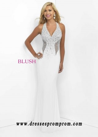 2016 Blush Prom 11078 Dazzling Beaded Halter Fitted Jersey Gown